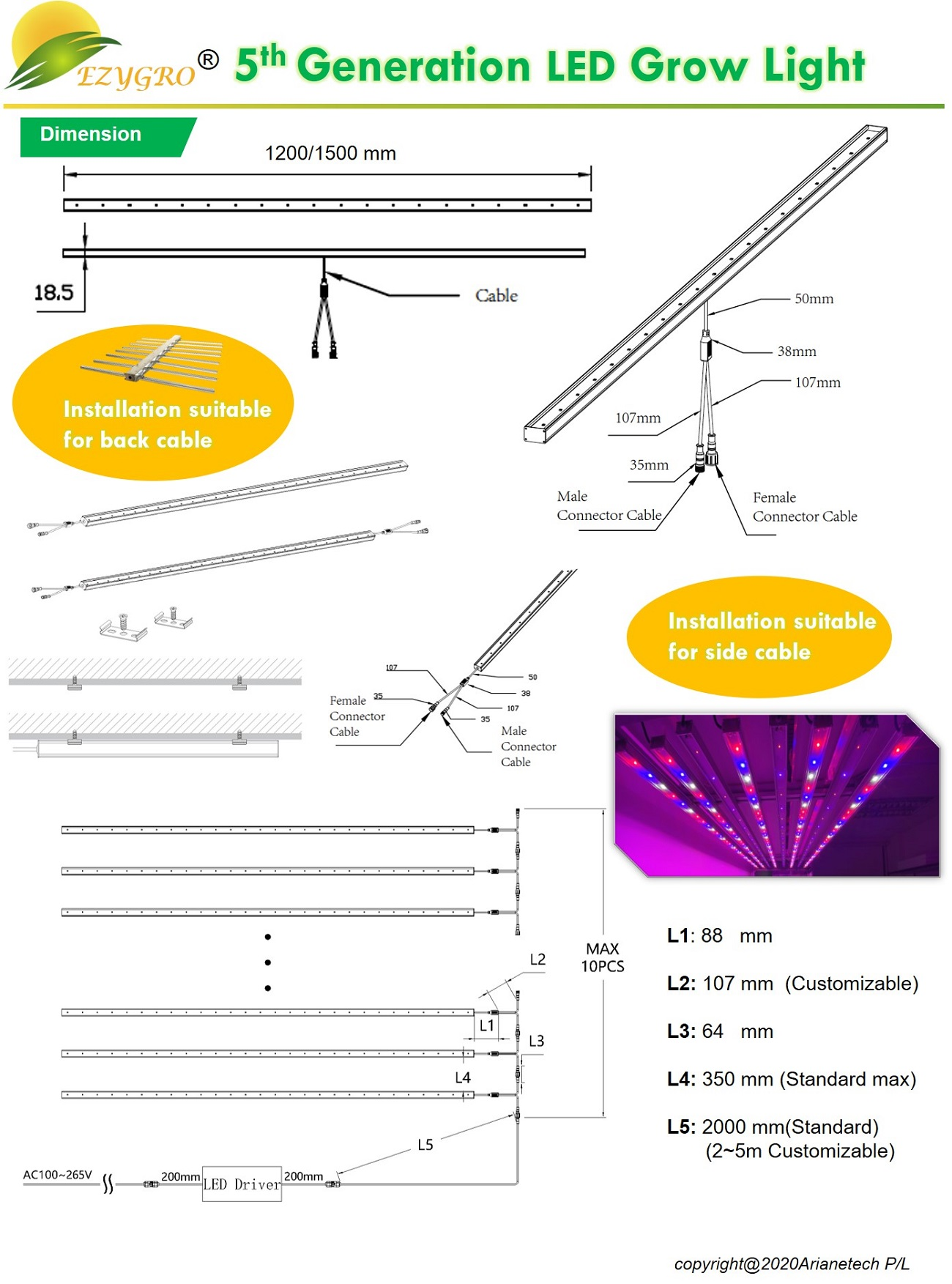 5 generation ezygro led grow light bar for crops in vertical farming 15